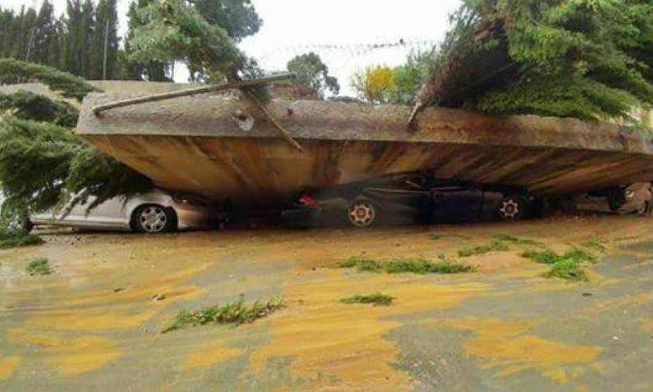 Views of the extreme flash flooding and wall collapses after heavy rainfall in Malaga, Spain. Photo: @Tornados