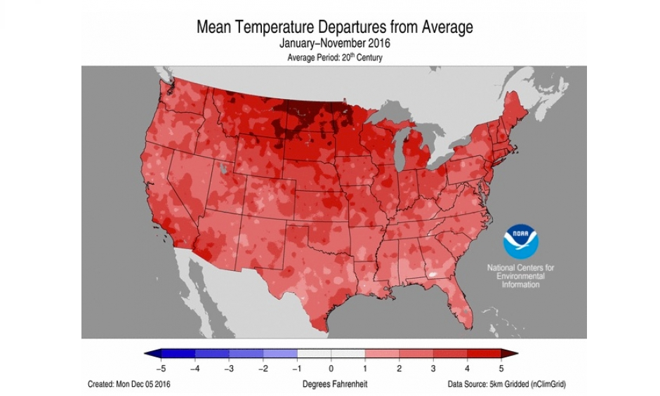 How temperatures across the contiguous U.S. compared to average from January through November. Image: NOAA