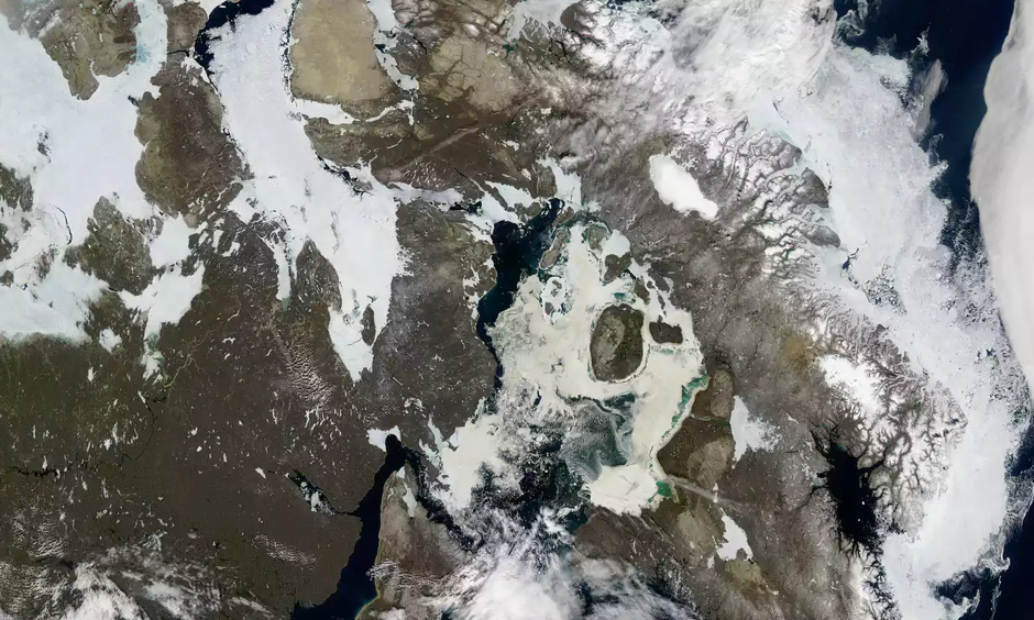 A Nasa image shows receding ice cover over northern Canada. Image: MODIS/Aqua/Nasa