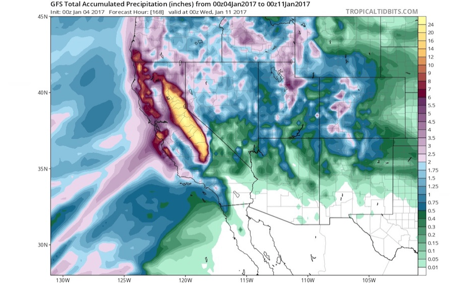 "Parts of the Sierra Nevada may rack up more than 20"" in precipitation (including rain and the moisture within snow) over the seven-day period from 00Z January 4 to 11 (4:00 pm PST Jan. 3 to 10), based on this projection from the 0Z Wednesday run of the GFS model. Image: Tropical Tidbits"