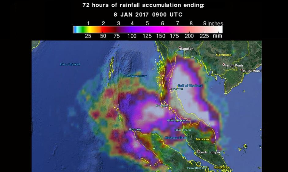 72 hours of rainfall accumulation ending 09:00 UTC on January 8, 2016. Photo: NASA/JAXA GPM