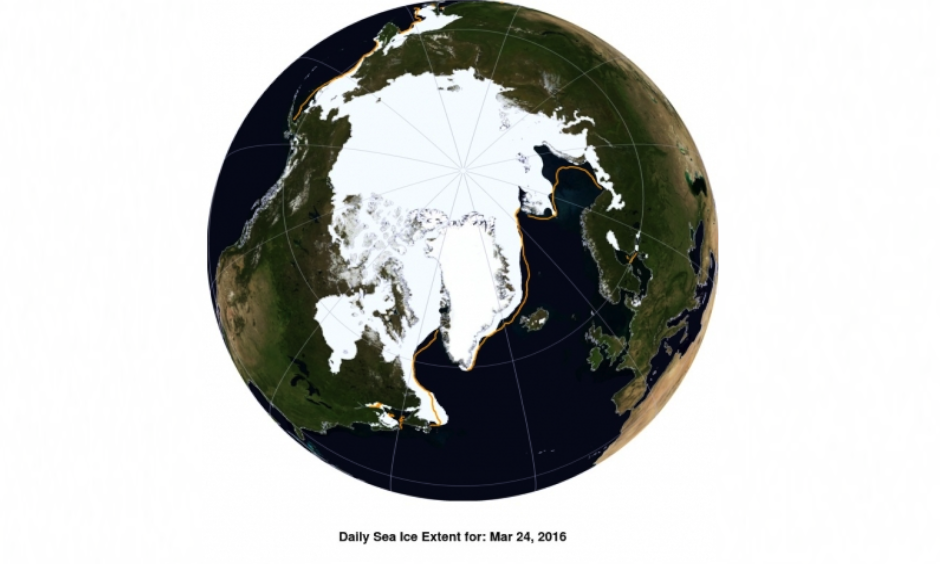 This NASA Blue Marble image shows Arctic sea ice extent on March 24, 2016. Image: National Snow and Ice Data Center/NASA Earth Observatory