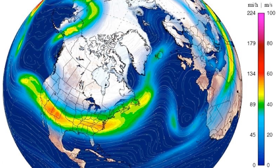 Winds at the jet-stream level (250 mb, or roughly 33,000 feet) were howling across the southern U.S. at speeds topping 120 mph in spots on Friday, January 6, 2017. The energy was undercutting a massive ridge of high pressure extending north into Alaska and eastern Siberia, with a weaker jet arcing above the ridge (top left). Image: Climate Reanalyzer/University of Maine