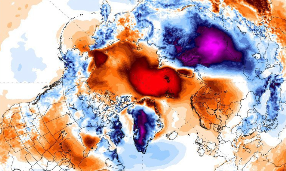 Five-day average temperature departure from normal, showing the unusually warm conditions near the pole and frigid conditions in Siberia. Image: Climate Reanalyzer