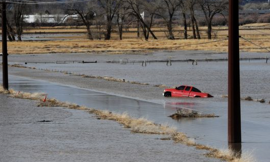Standing water is seen on the flood plain surrounding the Reno/Sparks Southeast Connector just south of the Sparks Industrial Complex and the Truckee River on Monday, Jan. 9, 2017. Photo: Jason Bean, Reno Gazette-Journal