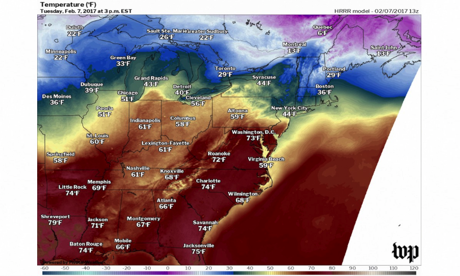 Record high temperatures are expected in the Southeast and Mid-Atlantic on Tuesday. Image: Washington Post, Capital Weather Gang