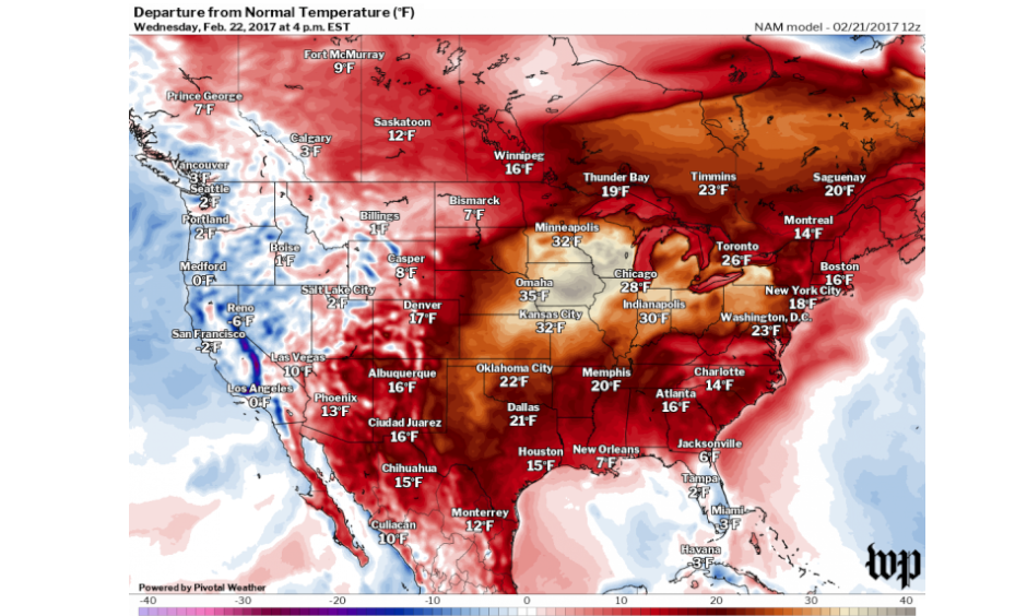 Temperature difference from normal forecast on Wednesday from NAM model. Image: Washington Post