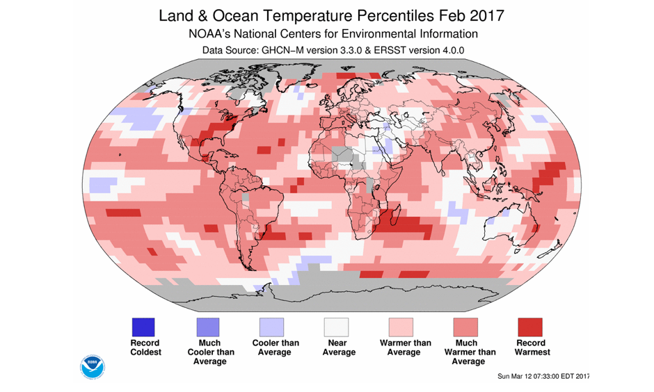 Departure of temperature from average for February 2017, the 2nd warmest February for the globe since record keeping began in 1880. Warmer- to much-warmer-than-average conditions were present across much of the world's land surfaces, with the most notable warm temperature departures from average (3°C–5°C above the 1981–2010 average) across much of the contiguous U.S., southeastern Canada, and across much of central and eastern Russia. Image: NCEI