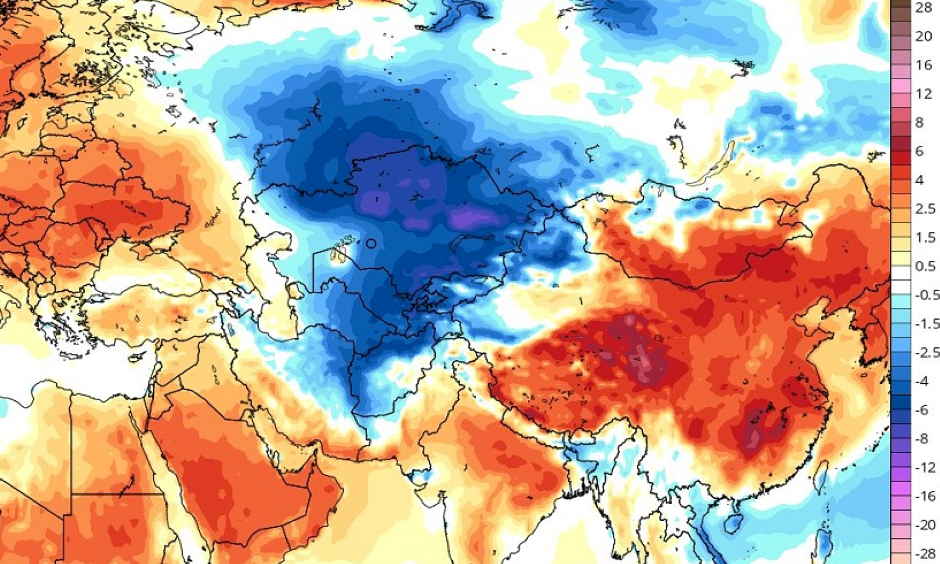Temperature anomalies (°C) between 3 April and 8 April.