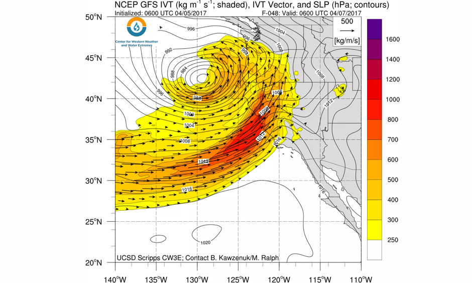 The Thursday/Friday storm will be associated with an impressive April atmospheric river. Image: NCEP via UCSD