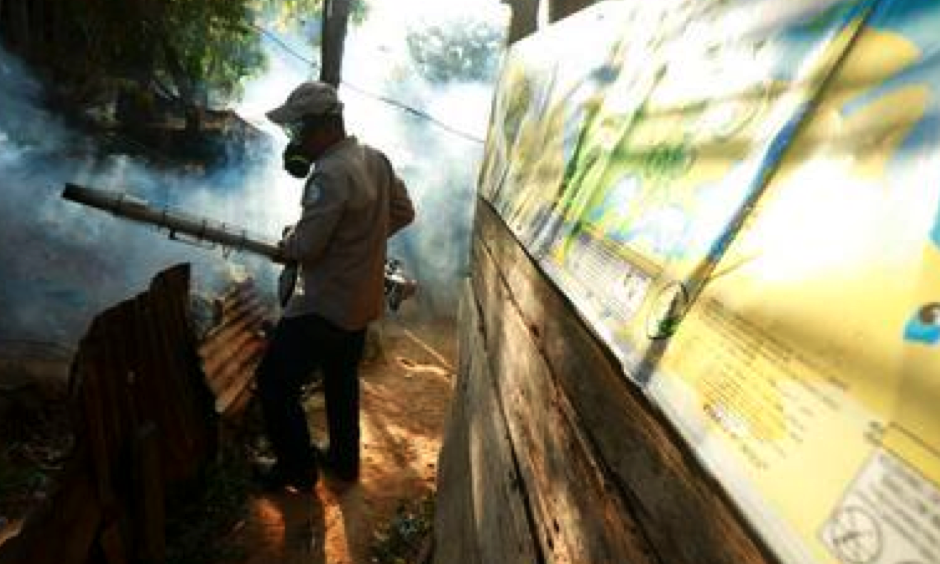 In this Feb. 25, 2016 file photo, a Health Ministry worker fumigates for the Aedes aegypti mosquito, vector for the spread of the Zika virus, in Veracruz, Panama, Thursday, Feb. 25, 2016. The Zika virus will have a significant impact on Latin America and the Caribbean and will disproportionately affect the poorest communities, widening economic inequality in the region, the United Nations said on Thursday, April 6, 2017. Photo: Arnulfo Franco, AP