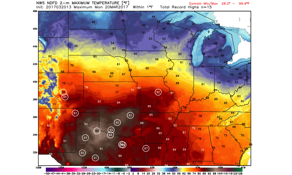 Locations forecast to be within one degree of record heat on Monday circled. Image: WeatherBell.com