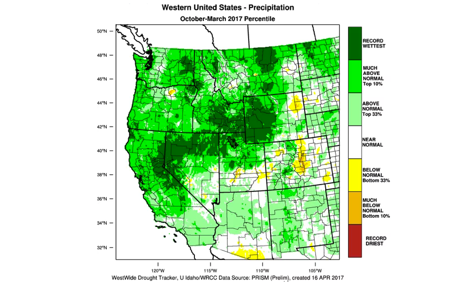 Record wet conditions occurred across wide swath of interior West this winter, including parts of NorCal. Image: WRCC