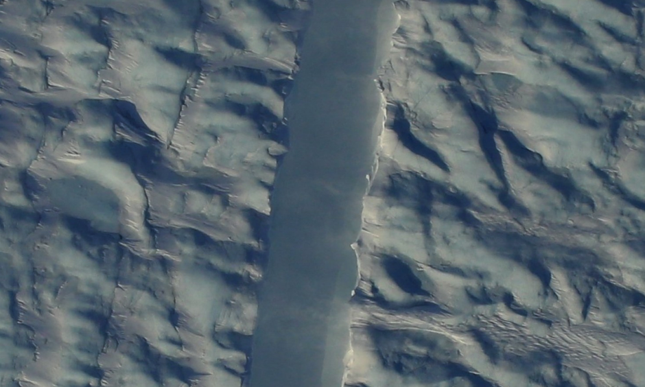 Preliminary DMS image of the new rift in Greenland's Petermann Glacier, directly beneath the NASA Operation IceBridge aircraft. Photo: Gary Hoffmann, NASA