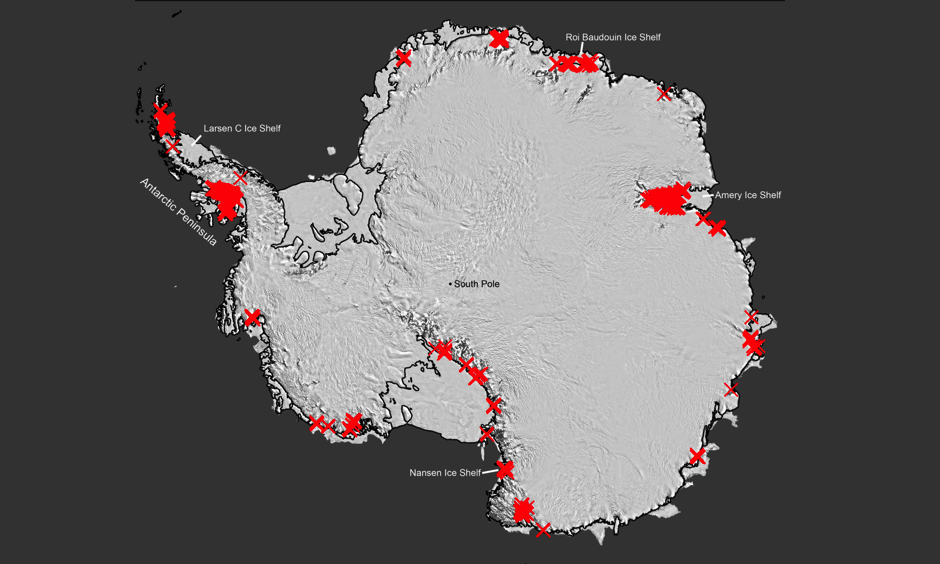 "Scientists have discovered that seasonally flowing streams fringe much of Antarctica's ice. Each red ""X"" represents a separate drainage. Up to now, such features were thought to exist mainly on the far northerly Antarctic Peninsula (upper left). Their widespread presence signals that the ice may be more vulnerable to melting than previously thought. Image: Adapted from Kingslake et al., Nature 2017"