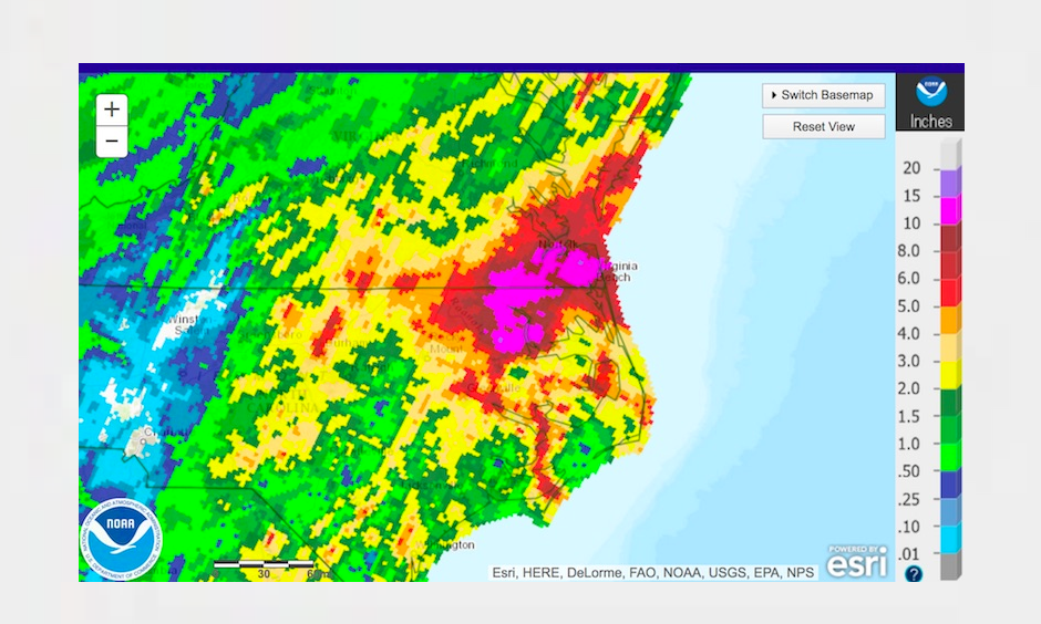 """Precipitation analyzed for the 7-day period ending at 12Z (8:00 am EDT) Thursday, September 22, 2016. Widespread 10-15"""" totals have occurred over southeast VA and northeast NC since Monday in association with the remnants of Tropical Storm Julia. Image: NOAA/NWS Advanced Hydrologic Prediction Service"""