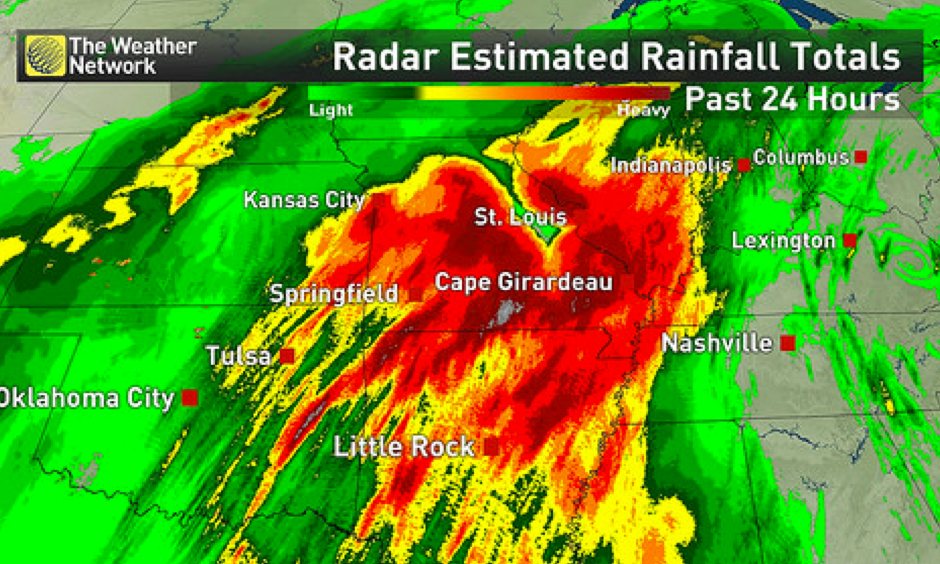 Radar estimate of the past 24 hours of rainfall, for the period ending Sunday afternoon. Image: The Weather Network