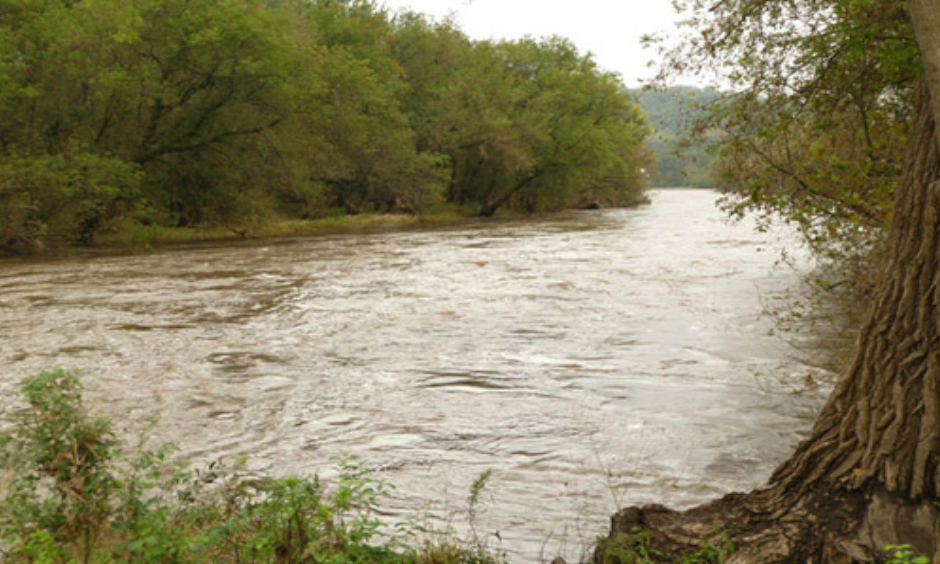 The Upper Iowa River at Fifth Avenue in Decorah, Iowa.