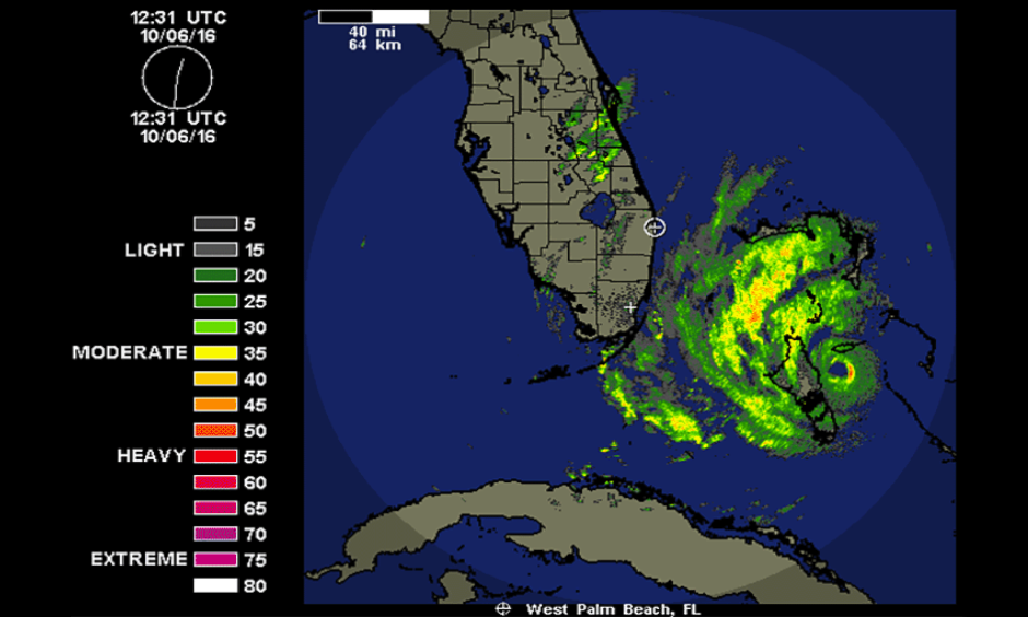 Hurricane Matthew as seen from 248-nm range Miami radar (with clutter turned off) at 8:31 am EDT Thursday, October 6, 2016. Matthew's eye was just east of Andros Island in the Bahamas, and the northern eyewall was beginning to affect Nassau, on New Providence Island. Image: Weather Underground