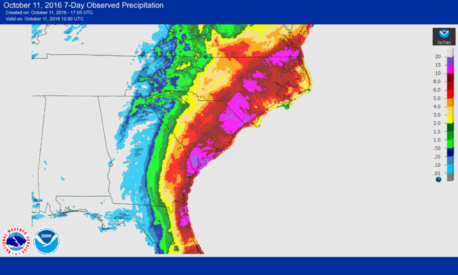 Rainfall totals with Hurricane Matthew. Image: NOAA