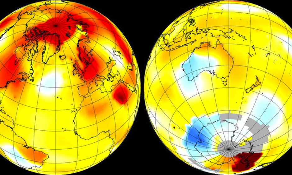 Global average surface temperature anomalies for Sept. 2016. Image: NASA GISS