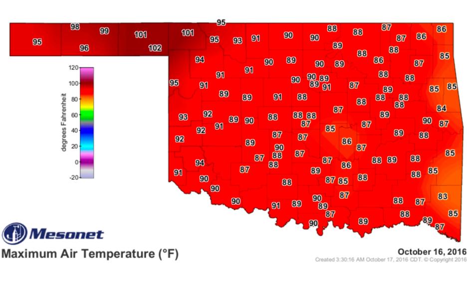High temperatures across Oklahoma on Sunday, October 16, 2016. Image: Oklahoma Mesonet