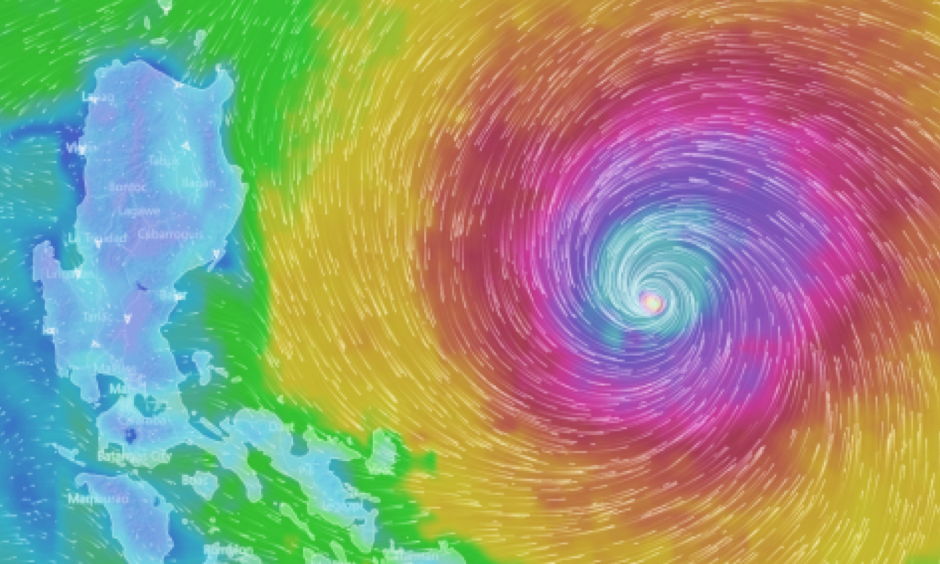 Super Typhoon Haima is expected to make landfall in the Philippines on Wednesday. Image: windytv
