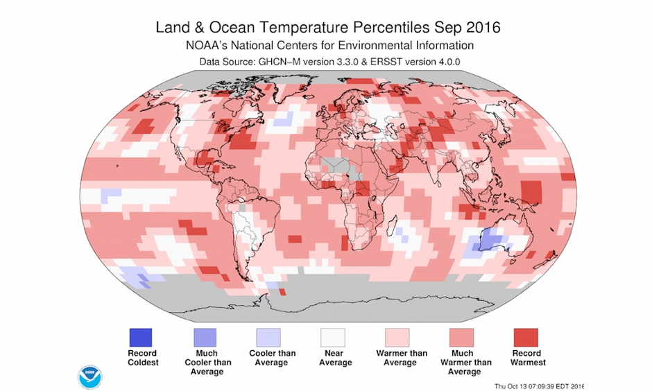 Departure of temperature from average by region for September 2016, which fell just short of September 2015 in NOAA's database as the warmest September for the globe since record keeping began in 1880. Image: NOAA National Centers for Environmental Information (NCEI)