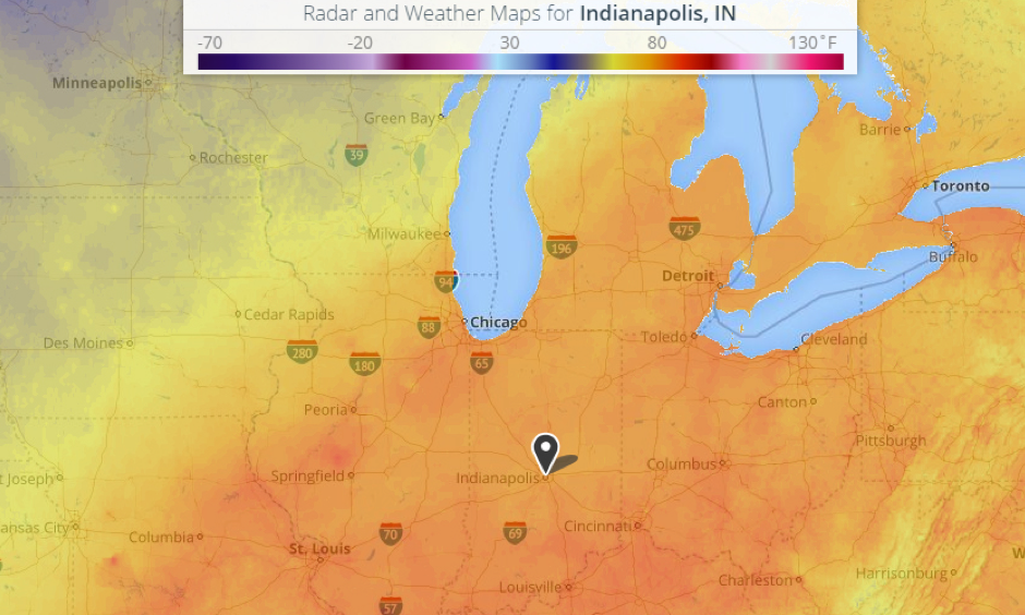 Indianapolis set a new record high minimum temperature on Monday, October 17. Photo: Weather.com