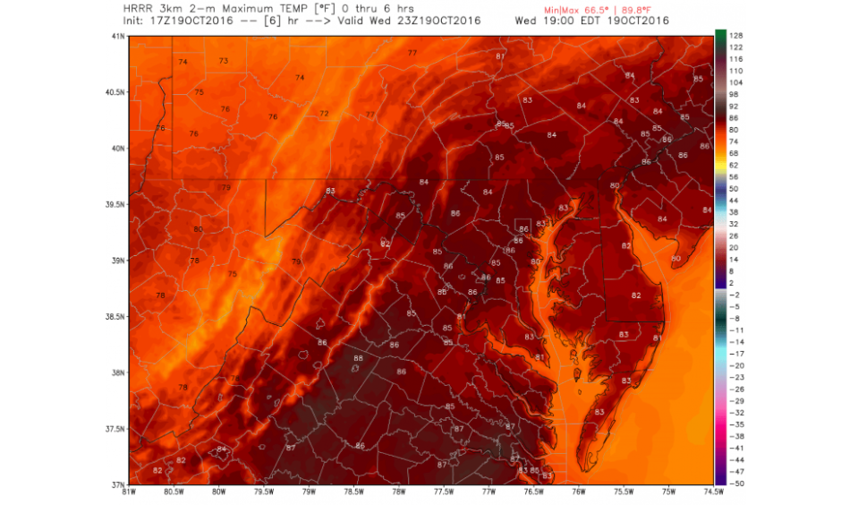 The HRRR model high temperature forecast predicted Wednesday. Image: WeatherBell