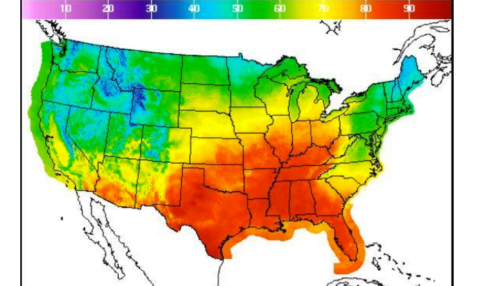 The South and Plains states have been hit by a fall heat wave. Image: National Oceanic and Atmospheric Administration
