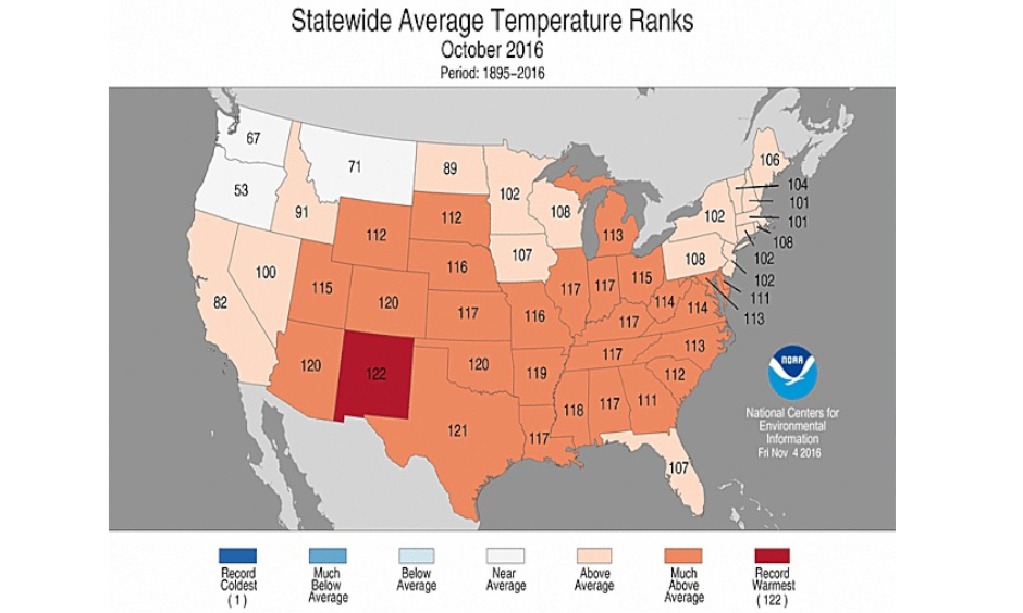 Statewide rankings for average temperature during October 2016, as compared to each October since 1895. Darker shades of orange indicate higher rankings for warmth, with 1 denoting the coldest month on record and 122 the warmest. Image: NOAA/NCEI