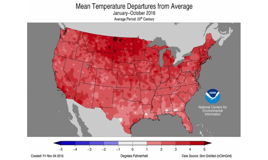 How temperatures across the U.S. differed from average from January-October 2016. Image: NOAA