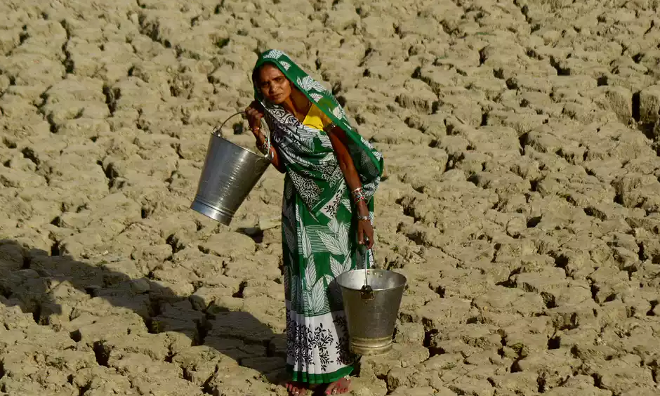 A heatwave in India where temperatures were recorded at 51.0C. Climate change means the occurrence and impact of extreme weather events has risen. Photo: NurPhoto, Getty Images
