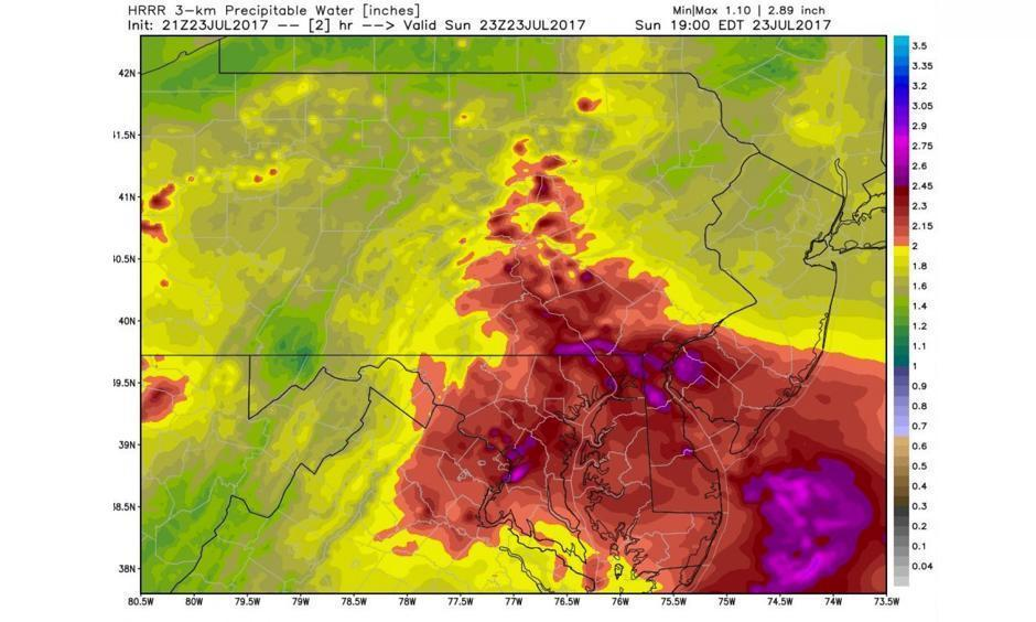 HRRR model estimate of total precipitable water, an indicator of atmospheric moisture, at 7 p.m. Sunday. Image: WeatherBell