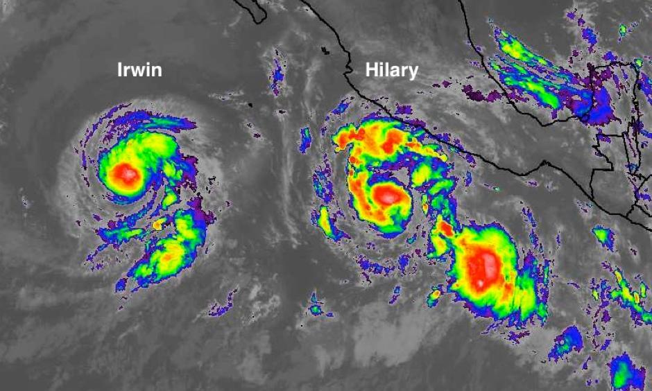 Infrared satellite image of Tropical Storm Irwin (left) and Hurricane Hilary (right) in the Northeast Pacific at 11:00 am EDT Monday, July 24, 2017. The two cyclones will interact with each other in an unusual way later this week.