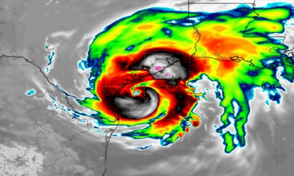Simulated satellite image showing Hurricane Harvey approaching Texas on Aug. 25, 2017. Image: WeatherBell