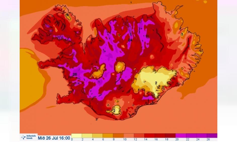 A color rarely seen on the Icelandic weather map. Photo: The Icelandic Met Office