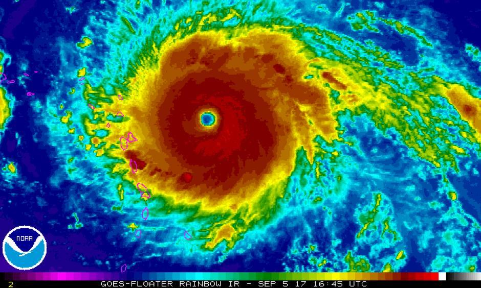 Infrared satellite image of Hurricane Irma as of 12:45 p.m. Eastern. Photo: NOAA