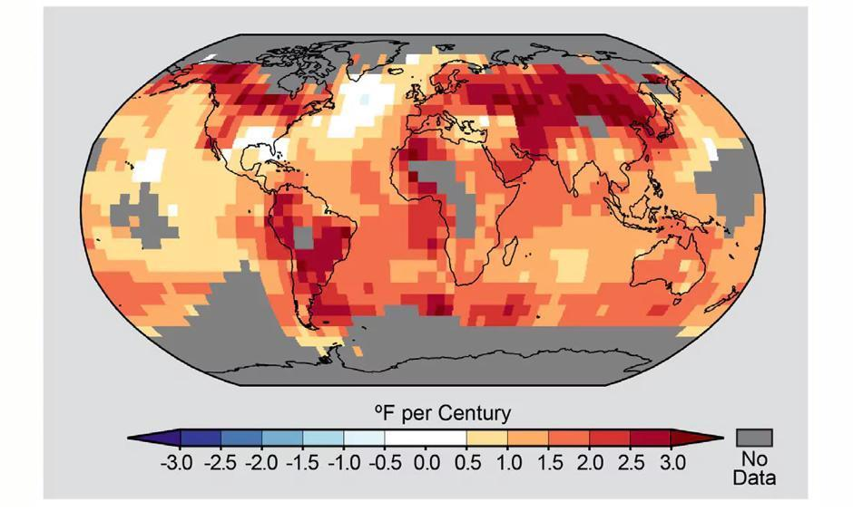 Observed trend in temperature from 1900 to 2012. Image: NOAA