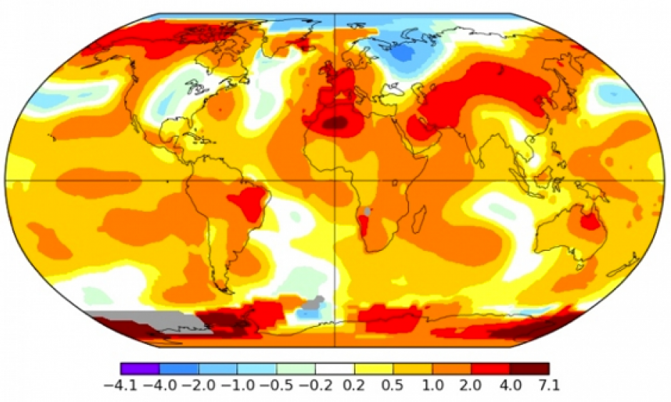 This May was the second-hottest May on record. Image: NASA GISS