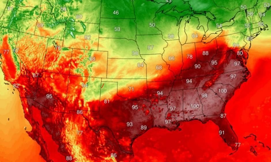 Extreme heat is forecast to blanket the Southeast and mid-Atlantic this week. Credit: Climatereanalyzer.org
