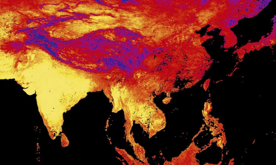 This image released by NASA's Earth Observatory Team from data collected by the Moderate Resolution Imaging Spectroradiometer (MODIS), an instrument on NASA's Terra and Aqua satellites, shows the land surface temperature as observed by MODIS in Asia between April 15 to April 23, 2016. Yellow shows the warmest temperatures. Photo: AP