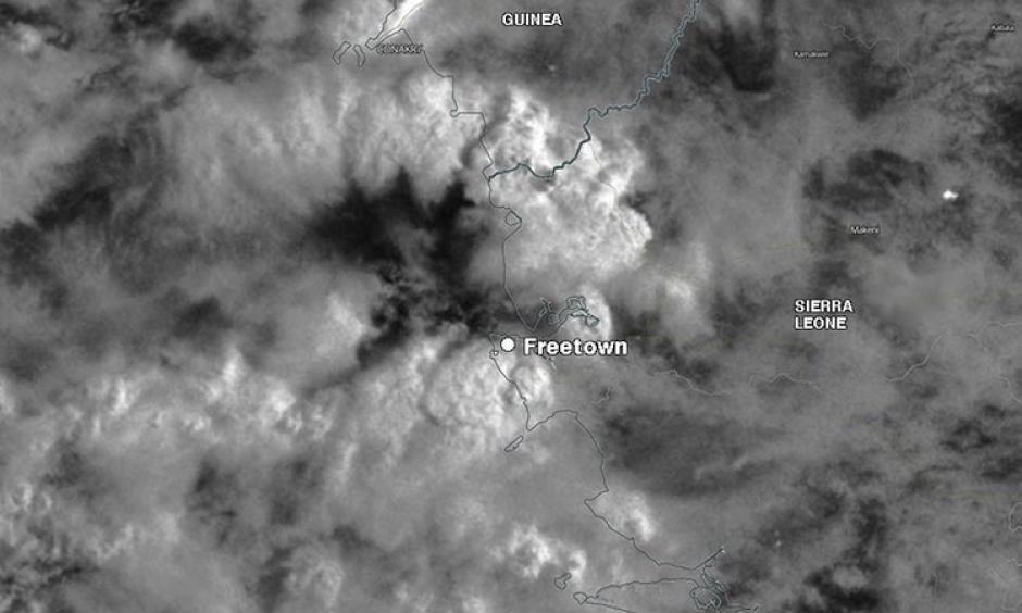 Heavy thunderstorms of Freetown on August 14th. Image: NASA and Weather Underground