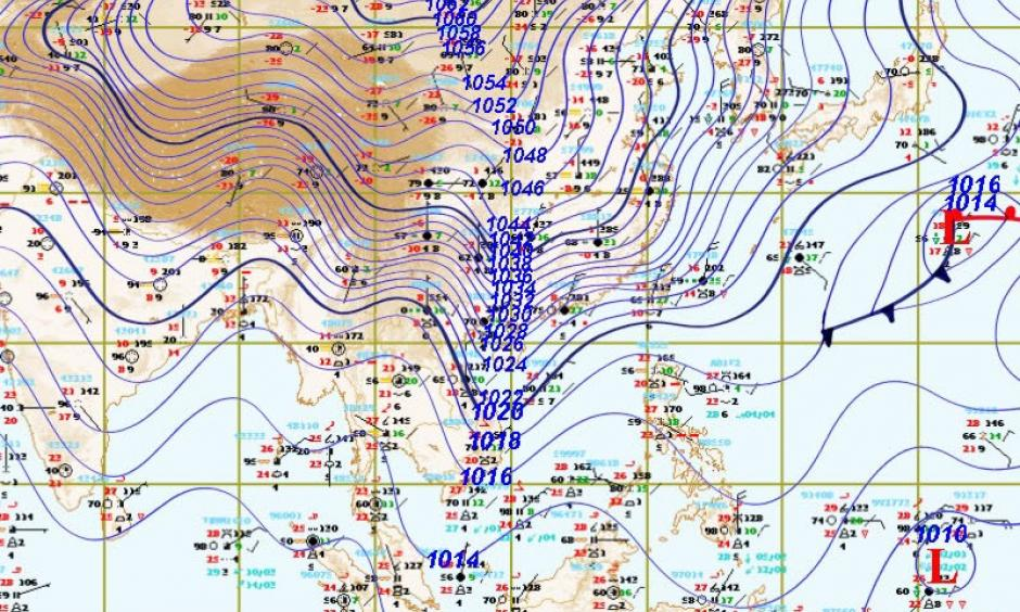 An intense surface high boasted a central pressure of at least 1066 millibars at 0700Z Saturday, Jan. 23, 2016. The frigid high sent cold air cascading across the continent to the lowlands of Southeast Asia. Image: Christopher Burt, Thai Meteorological Department