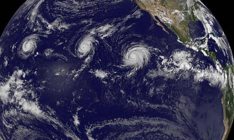 Hurricanes Kilo, Ignacio and Jimena churn in the northeast Pacific Ocean. Image: NASA
