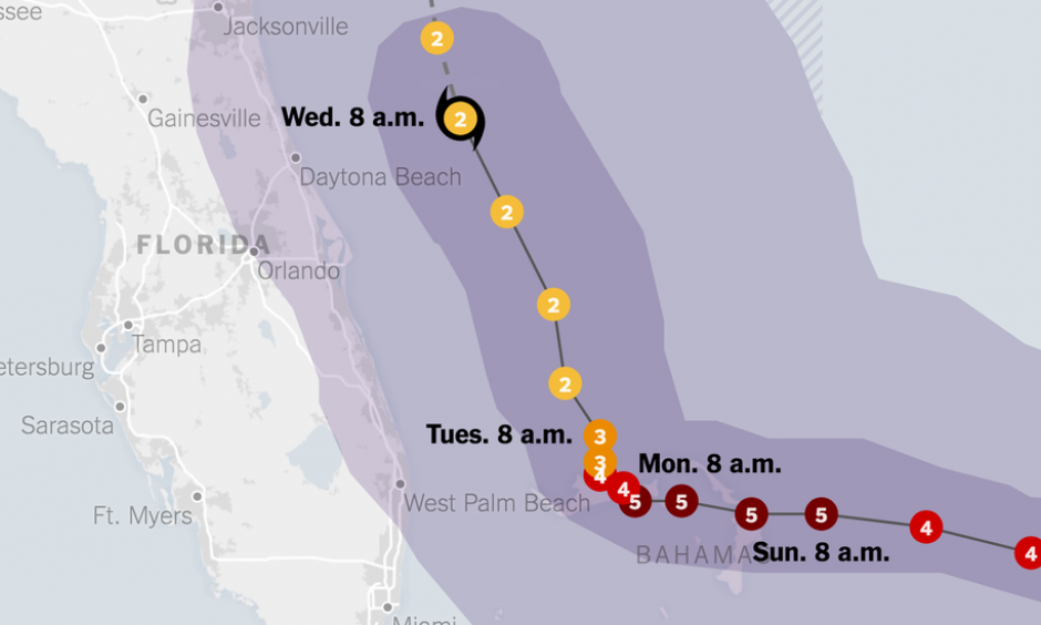 Note: Areas shown as likely to receive tropical-storm-force winds have a 50 percent or higher chance of experiencing wind speeds of at least 39 miles per hour. Image: The New York Times