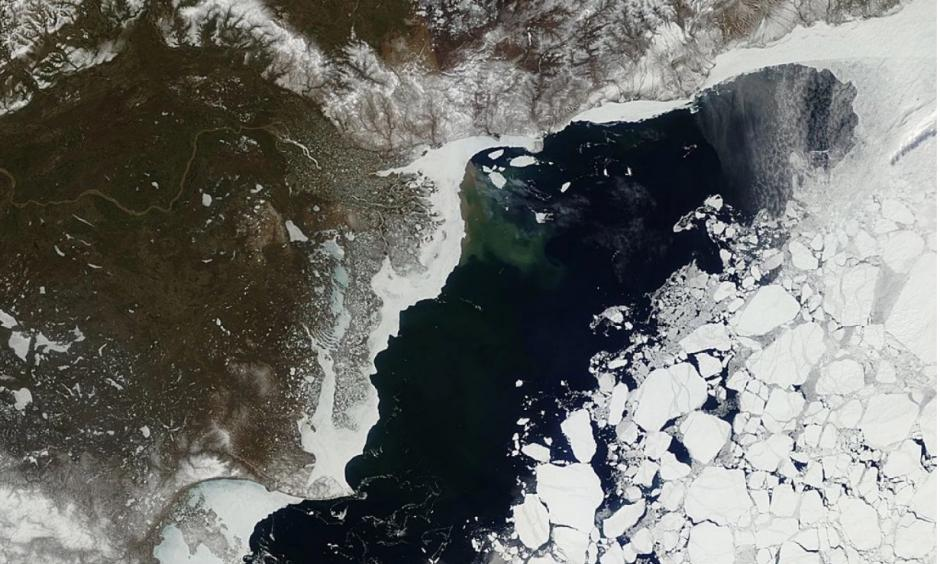 This image taken on May 21 shows Arctic sea ice in the Beaufort Sea from the Moderate Resolution Imaging Spectroradiometer sensor. Photo: Land Atmosphere Near-Real Time Capability for EOS System, NASA/GSFC