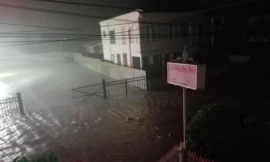 "Storm chaser Josh Morgerman of icyclone.com rode out Earl from Belize City, and took this photo of the storm surge inundating the city at 2 am local time on August 4, 2016. ""Definitely the most-epic Cat 1 I've chased. A hurricane of consequence. Will be remembered by Belizeans,"" he commented on his Twitter feed. Photo: Josh Morgerman"