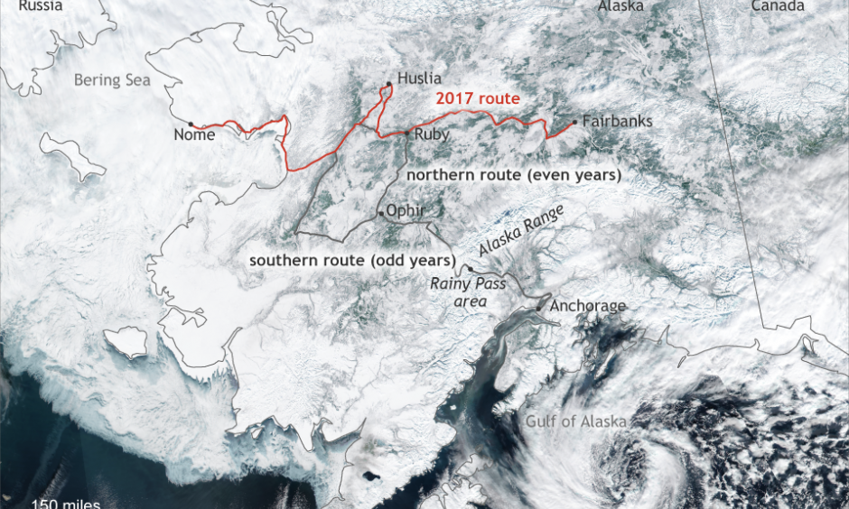 Alaska on March 1, 2017, with the traditional and alternate routes of the Iditarod race included. Image: Climate.gov based on visible and infrared data from the NASA/NOAA Suomi-NPP satellite.